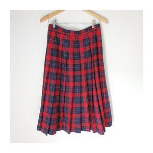 Vintage 100% Virgin Wool Tartan Skirt